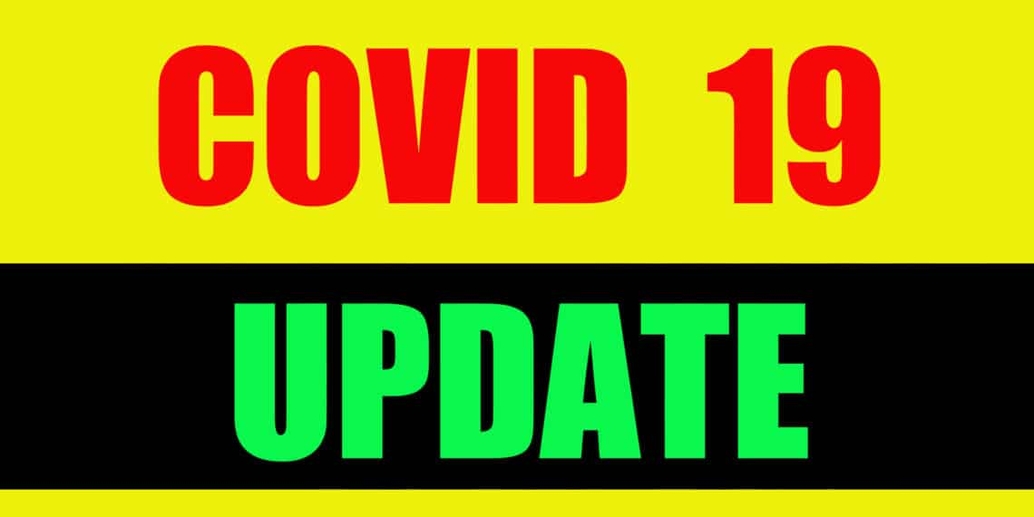 covid 19 coronavirus update text white blue background illustration
