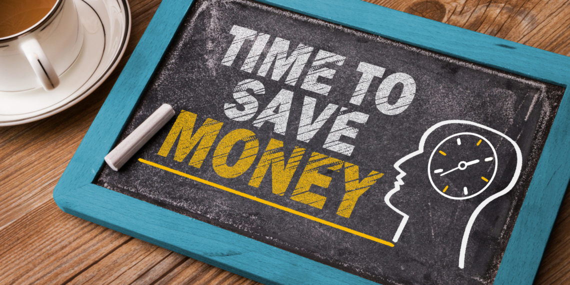 time to save money concept on blackboard