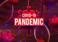 blood dna of covid-19 structure coronavirus crisis outbreak pandemic biohazard cell atom disease syndrome in wuhan china in background 3d illustration rendering, healthy medical concept