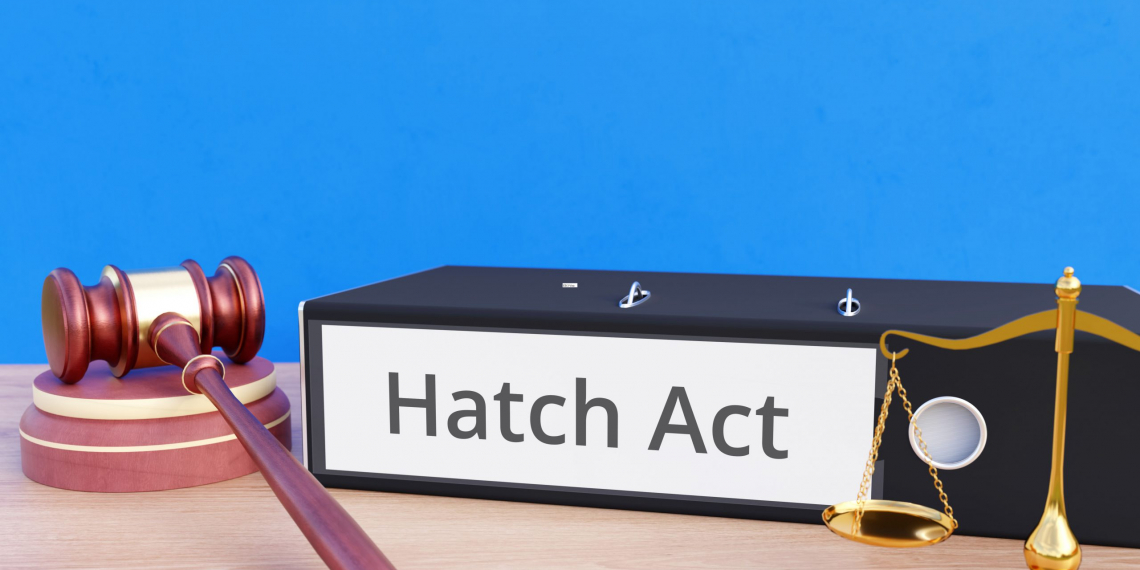 Hatch Act – Folder with labeling, gavel and libra – law, judgement, lawyer