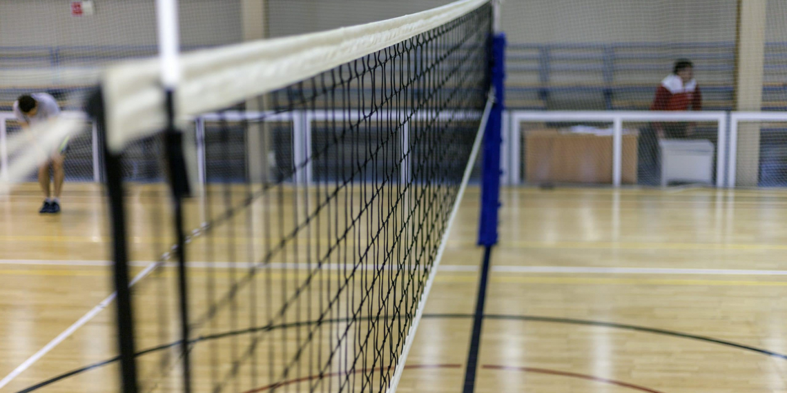 Volleyball court, net and ball, Sports volleyball arena