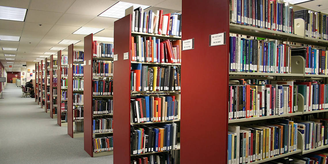 A photo inside a library