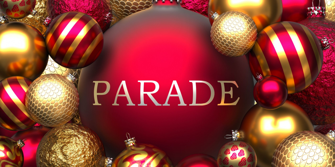 Parade and Xmas, pictured as red and golden, luxury Christmas ornament balls with word Parade to show the relation and significance of Parade during Christmas Holidays, 3d illustration