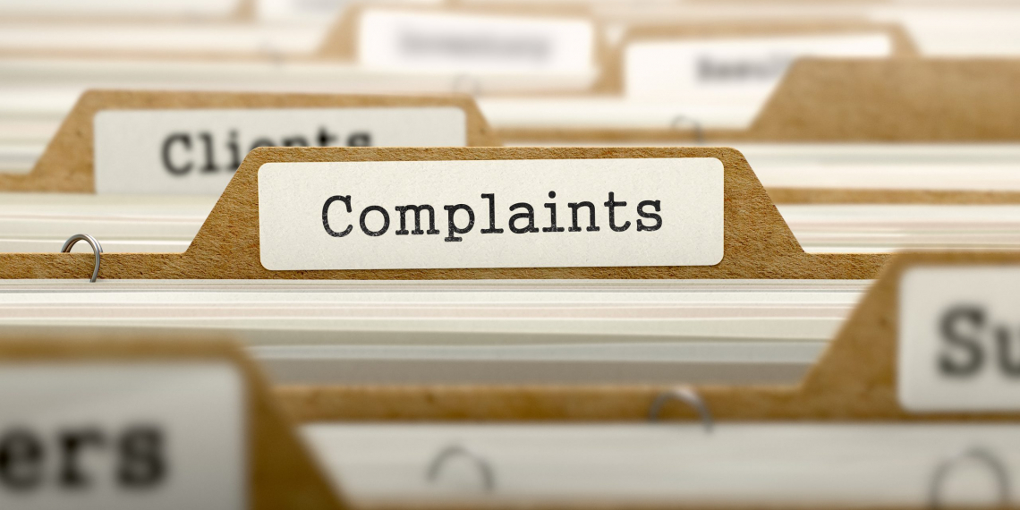 Complaints Concept. Word on Folder Register of Card Index. Selective Focus.