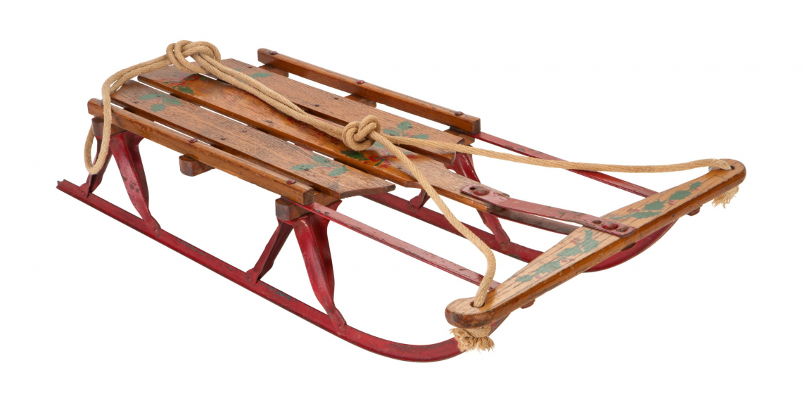 Antique Sled isolated on white with a clipping path