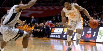 KNOXVILLE, TN - DECEMBER 22, 2018 - Forward Yves Pons #35 of the Tennessee Volunteers during the game between the Wake Forest Demon Deacons and the Tennessee Volunteers at Thompson-Boling Arena in Knoxville, TN. Photo By Caleb Jones/Tennessee Athletics