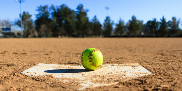 Softball in a softball field in California mountains, Baseball field
