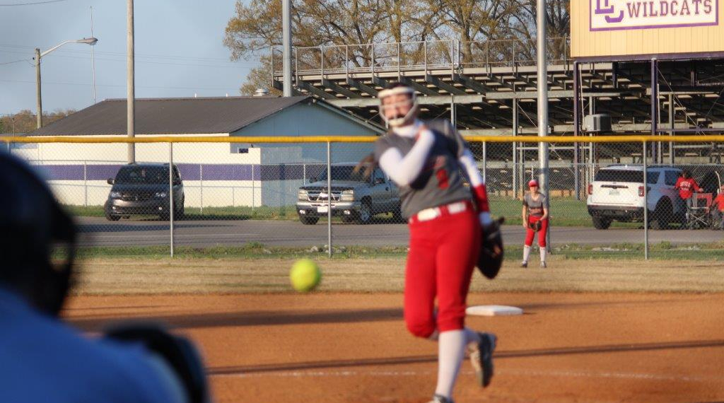 Keri Munn works a pitch in for a strike against Lawrence County. Photos by Barry West