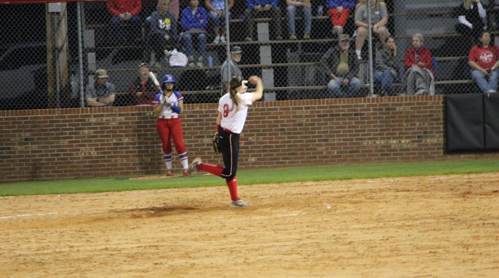 Keri Munn whips in a strike in her ho-hitter against Warren County. All photos by Barry West