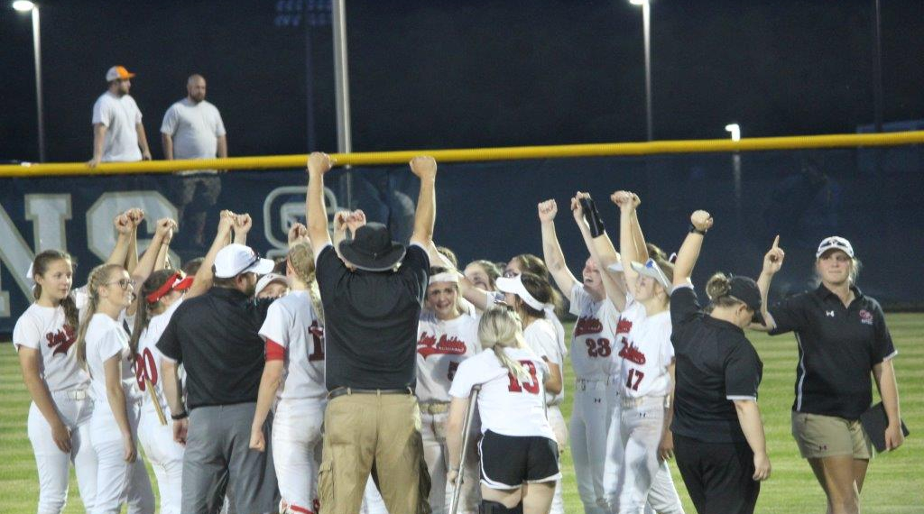 Coffee County players and coaches celebrate after beating Soddy Daisy on Friday.